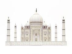 Taj Mahal montado el modelo de papel de color por PaperLandmarks