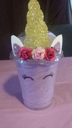 This is so cute and looka easy to make. Just buy the clear cups and stuff with cotton candy and add the decorations.