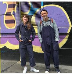 Nige and Emilie in London last week end, on their way to the vintage stores, wearing the Lybro Dungaree and the new Coverall in navy blue canvas @emiliecsz @nigel_cabourn #aw16nigelcabourn