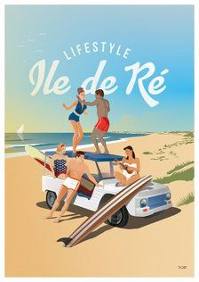 Poster Ile de R After surf White Mhari Paris Illustration, Travel Illustration, City Collage, Collage Art, Surf Drawing, Sale Poster, City Art, Vintage Travel Posters, Illustrations And Posters