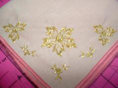 Metallic Gold Embroidered Floral Handkerchief by cajunstitchery, $10.00