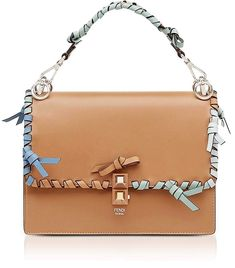 344b032fa555 Fendi Kan I M Orzo Leather Lace Up Top Handle Shoulder Bag leather #handbags  and #