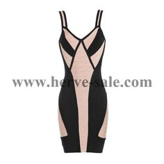 Herve Leger Apricot and Black Colorblock Bandage Dress H176LAB