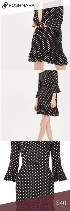 Topshop Black and White Polka Dot Dress Topshop Black and White Polka Dot Dress size 2! Adorable dress that was unfortunately a little to big on me so I was never able to wear! Topshop Dresses Mini