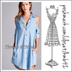 Coming Soon! Pre Order Now Light blue Denim shirt dress with cold shoulder detail, button down front, breast pocket and hidden side pockets. Size Small, Medium, large. ETA Mid March Threads & Trends Dresses