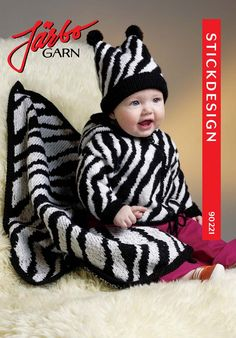 Zebra striped baby jacket with hood and matching hat.