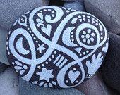 The Fortune Teller/ White Zen series /painted rock/ Sandi Pike Foundas / Beach Stone from Cape Cod