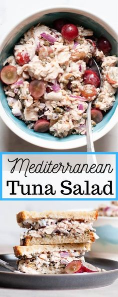 Relax with this chilled, refreshing Mediterranean Tuna Salad. Using canned tuna, lemon juice, capers, walnuts, and grapes, it's a quick and easy dish sure to leave you feeling satisfied. Healthy Salad Recipes, Lunch Recipes, Seafood Recipes, Whole Food Recipes, Yummy Recipes, Free Recipes, Mediterranean Tuna Salad, Mediterranean Dishes, Healthy Tuna Salad