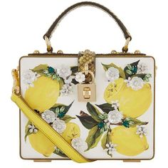 Dolce & Gabbana Painted Lemon Padlock Box Bag ($3,185) ❤ liked on Polyvore featuring bags, handbags, shoulder bags, lemon handbag, embellished handbags, lemon purse, dolce gabbana purse and white handbags