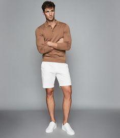 Bermuda Shorts Mens, Mens White Shorts, Chino Shorts, Stylish Mens Outfits, Casual Outfits, Outfits Fo, Classy Casual, Men Casual, White Casual