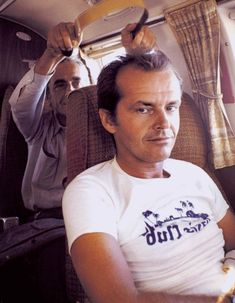 Michelangelo Antonioni and Jack Nicholson on the set of The Passenger (1975)