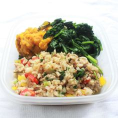 Check out this tasty meal prep suggestion.   In this meal we have our very colorful turkey dirty rice along with a side of our sauteed spinach and mashed steamed butternut squash & calabaza.  C…