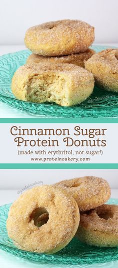 Prot: 17g, Carbs: 15g, Fat: 4g, Cal: 166 -- An easy, delicious recipe for gluten-free Cinnamon Sugar Protein Donuts made with erythritol, not sugar!
