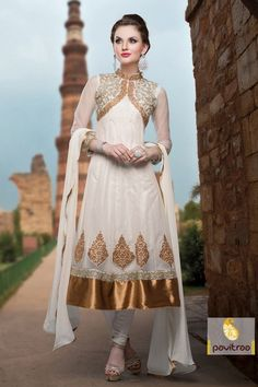 Online Shopping Off white and Golden Party Wear Salwar Suit