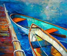 Pintura al leo original del barco y muelle muelle en canvas Sunset sobre ocean Modern Impresionismo Foto de archivo