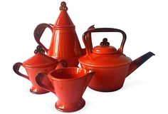 Metlox Rooster Coffee & Tea, Set of 4