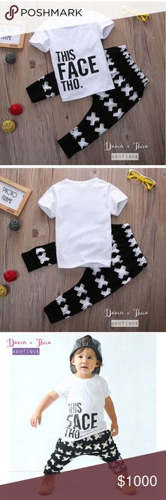 This Face Tho Matching Set 🌟BRAND NEW🌟  Adorable matching set of short sleeve t-shirt and harem pants for kids. Material is cotton and polyester. Limited quantity. Reserve yours now!  Available Sizes: 110 (3T) and 120 (4T)  💟Size Chart are approximate measurements,  please allow a few inches difference.  💟Please ask questions before purchasing. 💖 💟PRICE is FIRM 💟10% OFF BUNDLE 💟NO Trades Davin+Theia Matching Sets