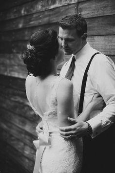 Dramatic Black and White Wedding Photo