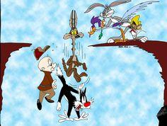 Self-explanatory Looney Tunes fun. Looney Tunes: The Cliff Looney Tunes Characters, Looney Tunes Cartoons, Classic Cartoon Characters, Classic Cartoons, Disney Cartoons, Book Characters, Funny Cartoons, Cute Wallpaper Backgrounds, Cute Wallpapers