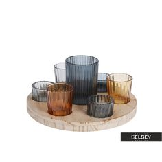 Zestaw siedmiu świeczników na drewnianej tacy Hygge, Decorative Bowls, Home Decor, Decoration Home, Room Decor, Interior Decorating