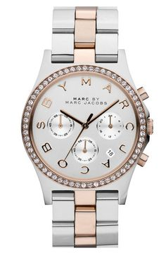 MARC BY MARC JACOBS 'Henry' Chronograph & Crystal Topring Watch Silver/ Rose Gold