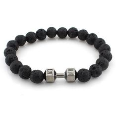 4b692d5b9 New Arrival Metal Barbell Jewelry for men Black Matte Agate Stone Beads  yoga Fitness Fashion Fit Life Dumbbell Bracelets