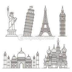 statue of liberty tower of pisa eiffel tower big ben taj mahal saint basil's cathedral. Big Ben, Art Sketches, Art Drawings, Pisa Tower, St Basils Cathedral, St Basil's, Buch Design, Doodle Art, Art School