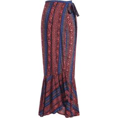 Tribal Ruffles Wrap Maxi Skirt (€17) ❤ liked on Polyvore featuring skirts, long ruffle skirt, tribal maxi skirt, long red skirt, red wrap skirt and wrap maxi skirt