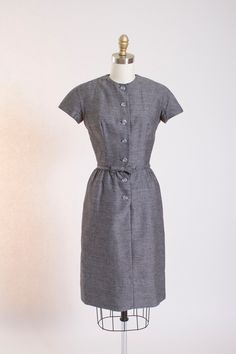 1950s Grey Wool Day Dress by Lanz