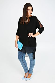 Plus Size Black Longline Top With Sheer Panels And Dipped Hem