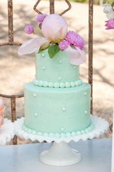 simple mint and lilac wedding cake