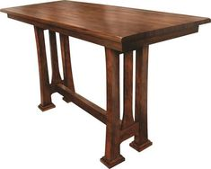 Amish Tolieson Pub Table Here's a popular pub table made in Amish country. Choose wood and stain and save space with this beauty that's cozy, comfy and durable. #pubtables #woodfurniture