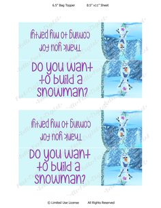 Do You Want to Build a Snowman Printable Free
