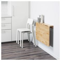 NORBO birch, Wall-mounted drop-leaf table - IKEA IKEA NORBO wall-mounted drop-leaf table Solid wood is a hardwearing natural material. Ikea Wall Table, Wall Dining Table, Wall Mounted Folding Table, Folding Walls, Wall Mounted Kitchen Table, Ikea Small Dining Table, Wall Mounted Desk Folding, Ikea Drop Leaf Table, Ikea Folding Table