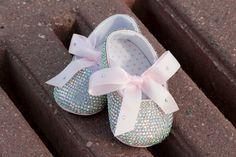 baby Swarovski Rhinestones shoes, 0-12 month (Rainbow color). $95.00, via Etsy.