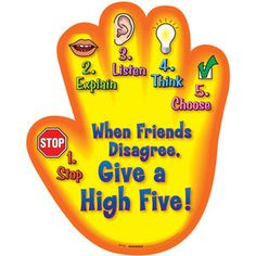 When Friends Disagree, Give A High Five! Poster reallygood stuff-free activity guide