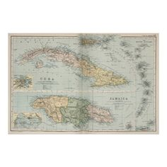 Vintage Map of Cuba and Jamaica (1892) Poster