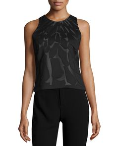 Sleeveless Embellished Top, Black - Halston Heritage