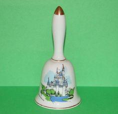 "Vintage Walt Disney World Cinderella Castle Porcelain Souvenir Bell 5.25"""