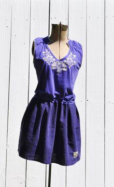 Reserved/Upcycled Boho Tunic Dress in Plum and Cobalt Blue/ Hand Stitched / Boho Mini Dress/Sustainable Fashion