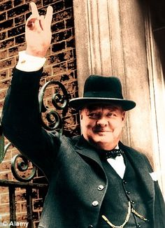 Winston Churchill - That is a V for victory.