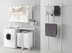 tendedero ikea de pared algot Ikea Laundry, Laundry Room Countertop, Laundry Shelves, Laundry Room Cabinets, Laundry Room Remodel, Laundry Closet, Laundry Room Storage, Laundry Room Design, Storage Area