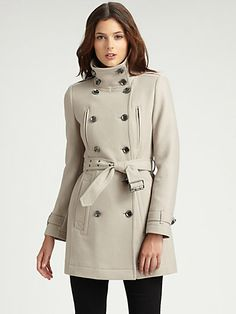 Burberry Brit - Double Breasted Wool Trench Coat - who wouldnt love to wrap up in this and bring that collar up to the chin, to block out the afternoon wintery wind. Click through to watch it in action (video) - $995.00