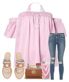 """"""" happy(:"""" by arieannahicks ❤ liked on Polyvore featuring Victoria's Secret, Milly, Frame, Jack Rogers, Claudia Bradby, Casetify, Neutrogena, Accessorize and MICHAEL Michael Kors"""