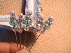 Shabby Chic Stick Pins Glass Beads Pearl Beads Scrapbooking Embellishments Card Making Wedding Set of 5. $7.50, via Etsy.