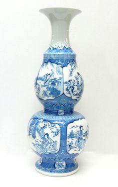 Chinese Porcelain Blue & White Lady Portrait Vase