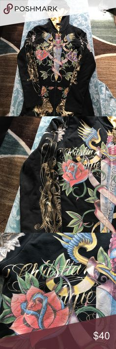 Large Ed hardy Hoodie Super cool ed hardy hoodie. Never really wore much. It is a large but does run a little on the tighter side. Christian Audigier Tops Sweatshirts & Hoodies