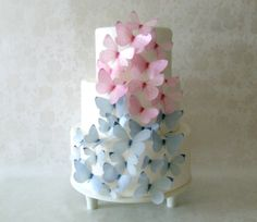 EDIBLE BUTTERFLIES  - Pink and Gray set of 30 - Cake Decorations - First Birthday  - Wedding Cake Topper