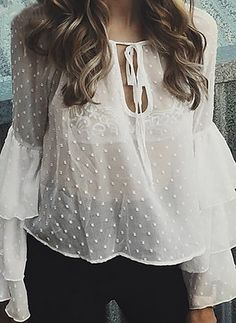 2017 Sexy See Through Blusas Flare Sleeve Femme Blouse Shirt Summer Tee Tops Cheap Clothes China Sheer Blouse, Ruffle Blouse, Ruffle Sleeve, Flutter Sleeve, Petal Sleeve, Sheer Dress, Bluse Outfit, Shirt Outfit, See Through Blouse