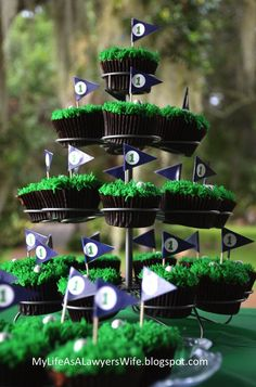 My Life as a Lawyer's Wife: E.J. is a Hole in ONE!: Golf-Themed First Birthday Party - golf cupcakes